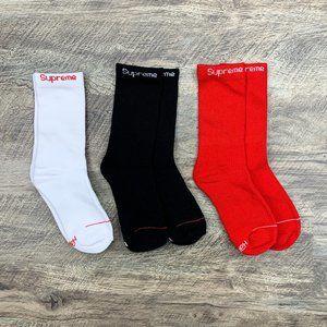 Supreme x Hanes Red, White, Black 6-12 Crew Socks